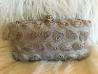 Alexia Crawford Gray Satin Roses Box Purse/Evening Bag-Prom/Party/Wedding/Formal