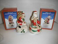 """(2) 6"""" Collectible Porcelain Musical Santa Claus Figures w/Boxes Both Work Well"""