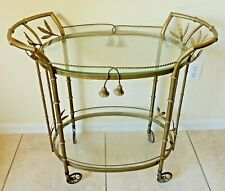 Antique/Vtg MCM Hollywood Regency Faux Bamboo Metal Glass Serving Bar Tea Cart