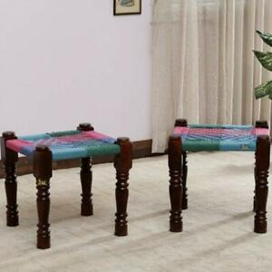 Wooden Handmade Rajasthani Woven Stools Pidha Side End Table Charpai Set of 2