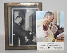 Padre Pio da Pietrelcina FOTOGRAFIA 1954 Cornice Argento Firma + RELIQUIA Santo