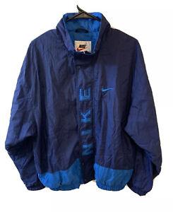 Nike Windbreaker Men Large L XL Fit Blue Spellout 1990s 90s Vintage