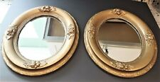 """Pair Vintage Gold Gilt Wood Oval Wall Mirrors 12 x 14"""""""