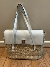 Kate Spade White Leather/Wicker Woven Purse Shoulder Bag