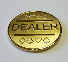 Gold Plated Metal Dealer Button in Case for Poker Games such as Texas Hold'em