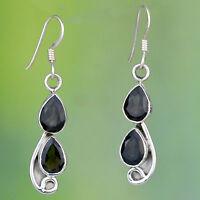 925 Sterling Silver Smoky Quartz gemstone earrings jewelry 4.78g handmade