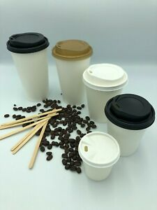 Coffee Tea Drinks Party Tableware PAPER CUPS WHITE 12oz Disposable Lids Takeaway