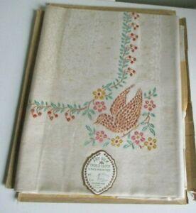 Vintage art silk handpainted tablecloth in  original box #S2