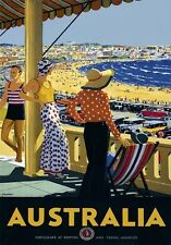 Vintage Retro Travel Poster * AUSTRALIA * QUALITY CANVAS PRINT