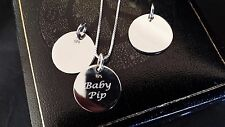 Personalised 925 Sterling Silver Engraved Disc Charm Necklace New Born Baby Gift