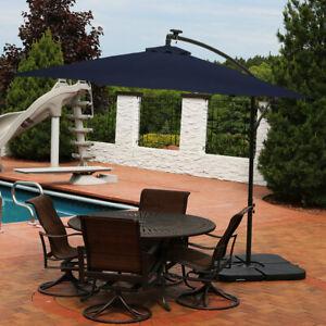 Sunnydaze Navy Blue Outdoor 10' Offset Solar LED Light Patio Umbrella with Crank