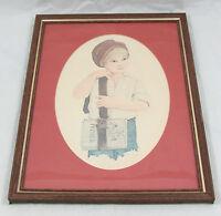 Jan Hagara Framed Art Print 1977 School Boy Pencil Art Drawing