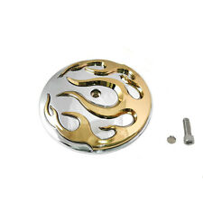 Chrome/Gold Flame Air Cleaner Insert for 1999-2014 Harley Softail Dyna FLT