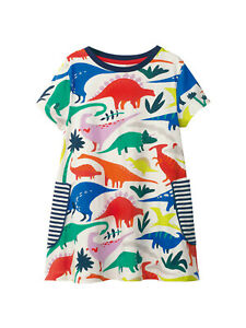 Mini Boden dress girls summer dinosaur print holiday sun age 2 3 4 5 6 7 8 years