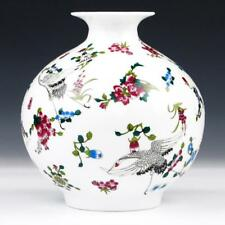 Vase Ceramic Porcelain Luminous Effect With Flowers and Bird Patterns Decors New