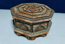 antique ottoman Box of wood and seashells craved handmade craved traditional