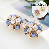 1 Pair Women Elegant Flower Crystal Rhinestone Ear Stud Fashion Earrings Jewelry
