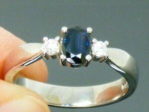 9ct Gold Blue Sapphire & Diamond Hallmarked Engagement Ring size M