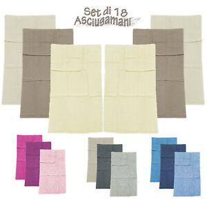 Asciugamani bagno set 18 pezzi 3 Misure Vari Colori Vivaci 100% cotone