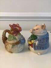 1987 Fitz & Floyd Bacon and Eggs Discontinued Creamer & Sugar Pig & Hen Japan
