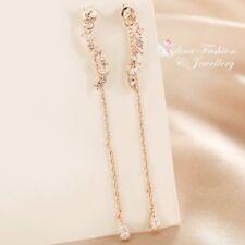 18K Rose Gold Filled Long Slim Chain Teardrop Cluster Double Sided Ear Jackets