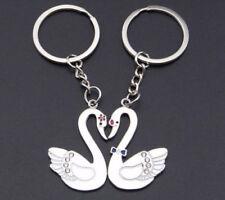 2pcs Couple Key Chain Ring Set Pair Swan Love Birds Jewelry His Hers Wedding BFF
