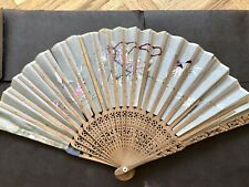 Antique Vintage Chinese Export Carved Sandalwood Bamboo Embroidery Floral Fan