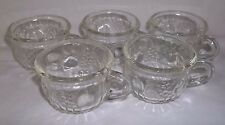 VINTAGE JEANNETTE GLASS PUNCH CUPS- EMBOSSED FRUIT-GRAPE, PEAR, APPLE- CLEAR (5)