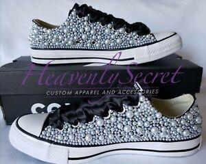 Custom Blinged Pearl Black Low Top Converse