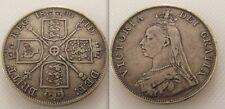 Bonito Coleccionable Plata 1890 Reina Victoria Jubileo Doble Florin Moneda