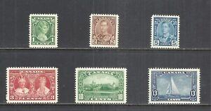 CANADA SCOTT 211 - 216 MLH VF SET (A) - 1935 SILVER JUBILEE ISSUE  CV $26.30