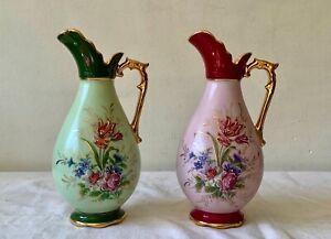 2 Anciens VASES PICHETS en PORCELAINE de LIMOGES DORÉ OR FIN & Décors Florales