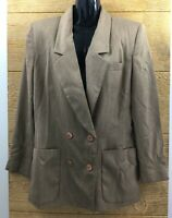 Oleg Cassini Womens Blazer Jacket Size 10 Brown Double Breasted