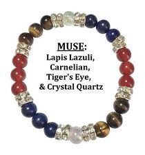 Muse: Carnelian, Lapis Lazuli, & Tigers Eye Stretch Bracelet Free SH