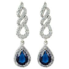 Rhinestone 18K White Gold Plated Zirconia Pear Blue Sapphire Drop Tear Earrings