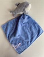 """Carters Shark Gray Blue Security Blanket Rattle Holding Plush Baby Lovey Toy 7"""""""