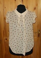 MARINA KANEVA peach nude brown birds chiffon short sleeve tunic top BNWT 16 44