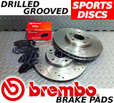 AUDI A4 1.9 TDi 130 01-04 FRONT Drilled & Grooved Brake Discs & BREMBO Pads