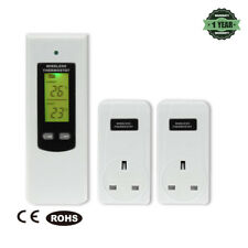 LCD Wireless RF Plug In Thermostat Temperature Controller 1sender 2 Receivers