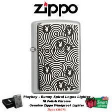 Zippo Playboy Lighter, Bunny Spiral, Hi Polish Chrome #28075