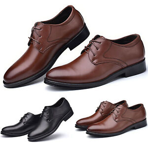 Mens Formal Leather Oxfords Smart Dress Office Business Work Lace Up Shoes Size