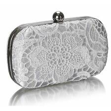 white lace WEDDING EVENING CLUTCH hand BAG hard case chain 110 prom party