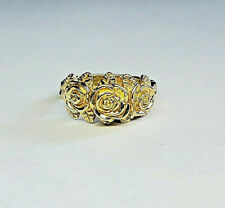 14 KT SOLID YELLOW GOLD THREE ROSE RING SIZE 8