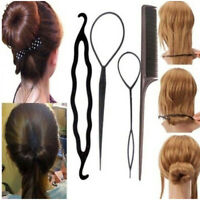 BT_ 4Pcs Women Braiding Comb Topsy Tail Hair loop DIY Bun Donut Maker Styling To