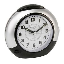 Alarm Clock - Black & Silver with Silent Sweep No Ticking Snooze Light