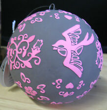Pink & Black Ball with Doves_Kopecky Holiday Ornament_180 Degrees