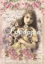 Victorian Child Fabric Block Chic Shabby Pink Roses Romance Altered Art Pretty