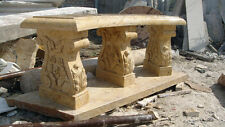 Marble Garden Bench, Heavily Carved Legs in Solid Beige, Hand Carved