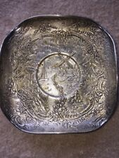 SILVER ANTIQUE Repousse ORNATE TRAY Holland Windmill SAILBOAT VTG BOWL