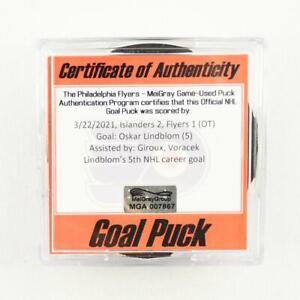 2020-21 Oskar Lindblom Philadelphia Flyers Game-Used NHL Goal-Scored Puck Giroux